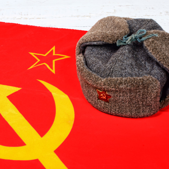 """cap on the flag of the Soviet Union"" stock image"