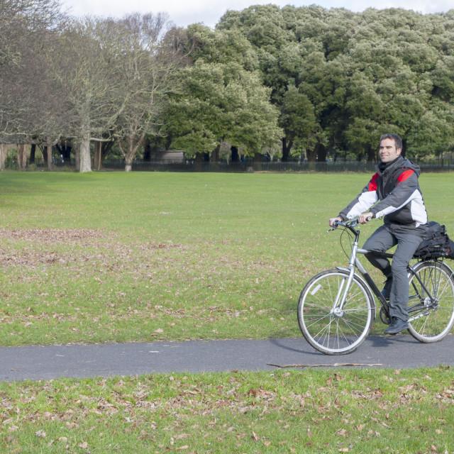 """""""biker in the park"""" stock image"""