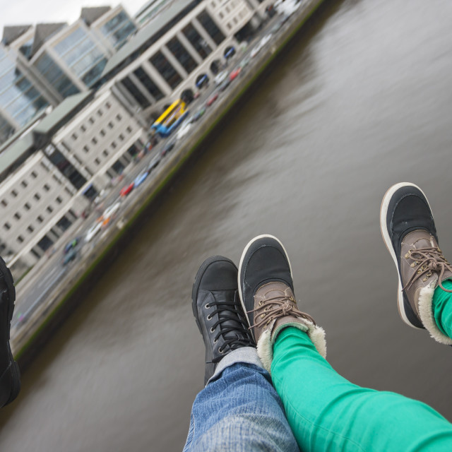 """Two pair of foot over Dublin"" stock image"