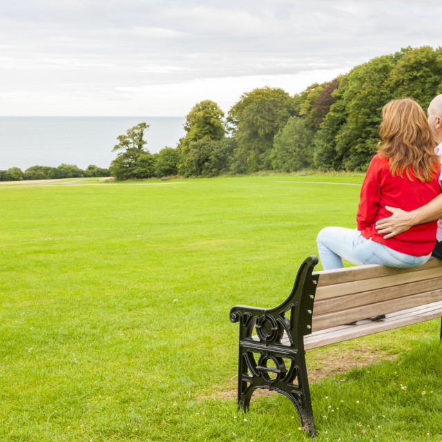"""Adult couple on the bench"" stock image"