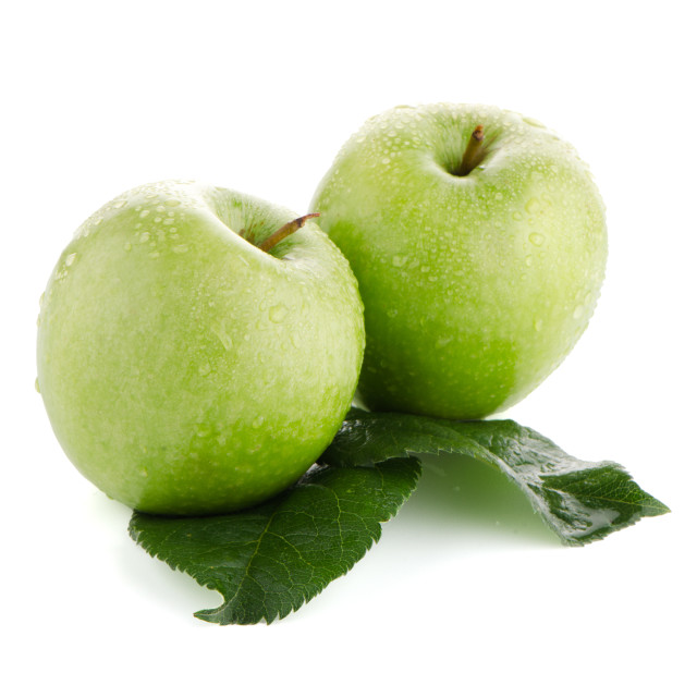 """Two fresh green apples"" stock image"