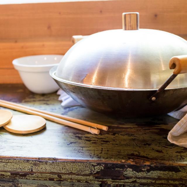 """old chinese wok"" stock image"