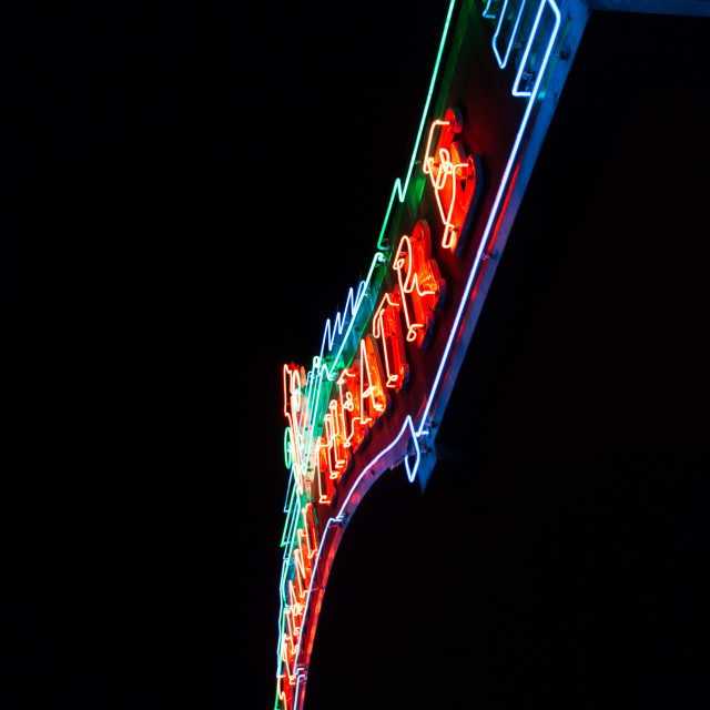 """Neon Movie Theater Sign"" stock image"