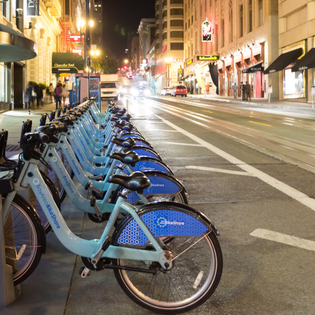 """Bike Share rack in San Francisco at night"" stock image"