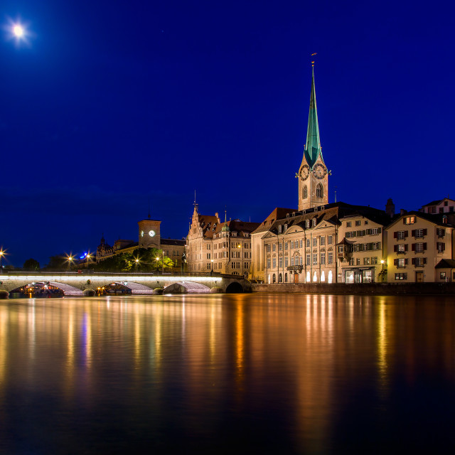 """Night Zurich"" stock image"