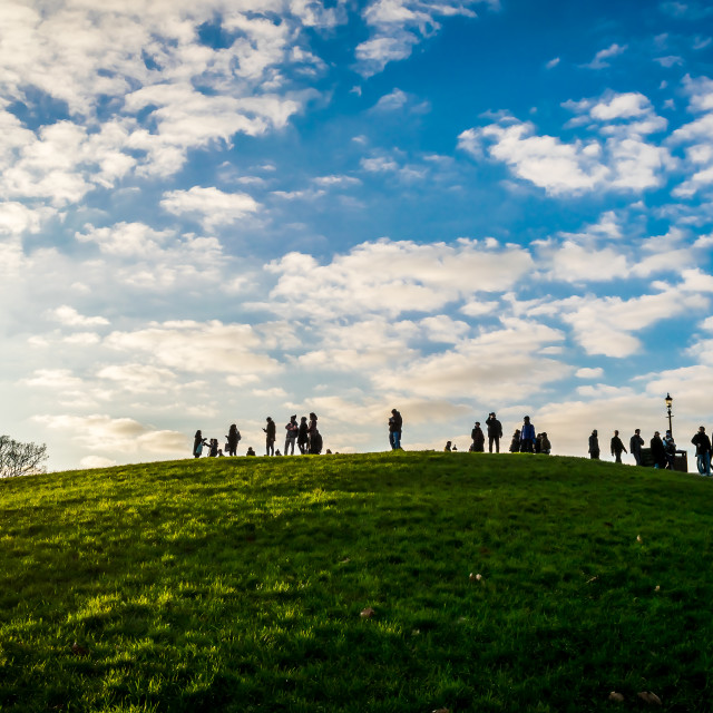 """People on Primrose Hill, London"" stock image"
