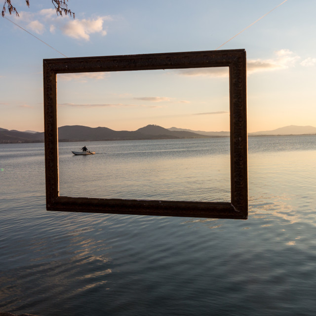 """Framed fisherman"" stock image"