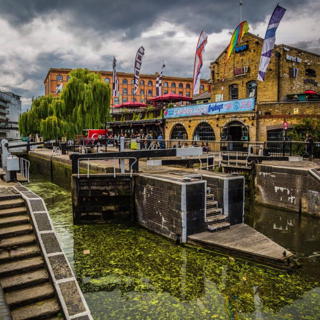 """Camden Lock Bridge"" stock image"