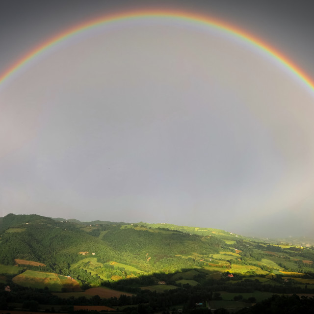 """Double Rainbow over Montine"" stock image"