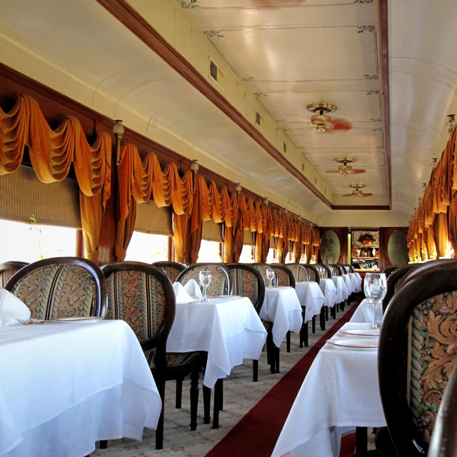 """Elegant Railway Dining Carriage"" stock image"