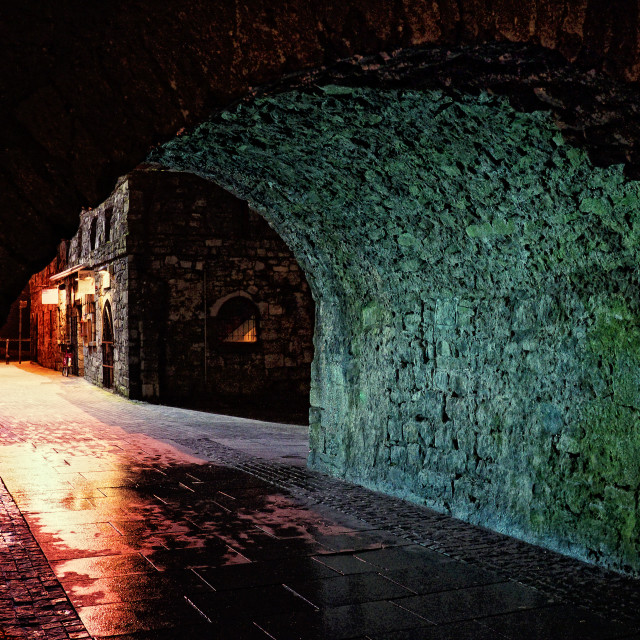 """Spanish Arch Galway at midnight"" stock image"