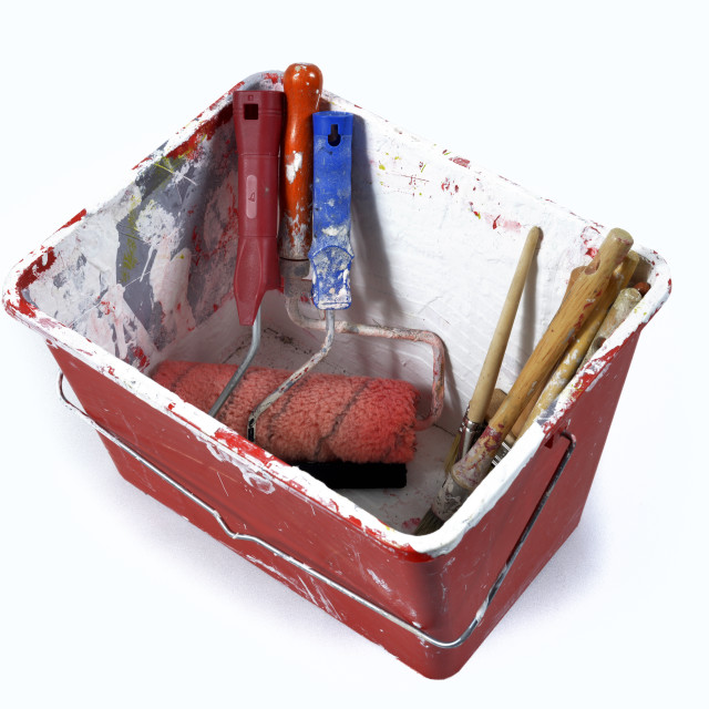 """paint tray with brush"" stock image"