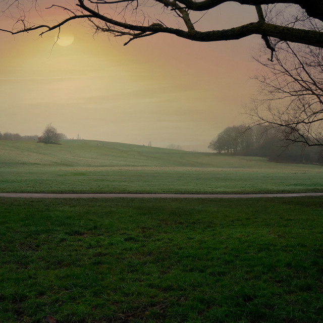 """A cold winters morning parliment hill fields london uk"" stock image"