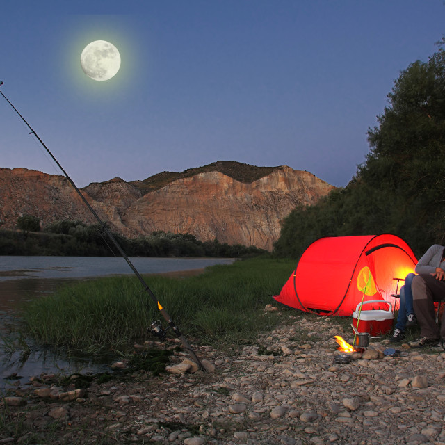 """couple camping"" stock image"