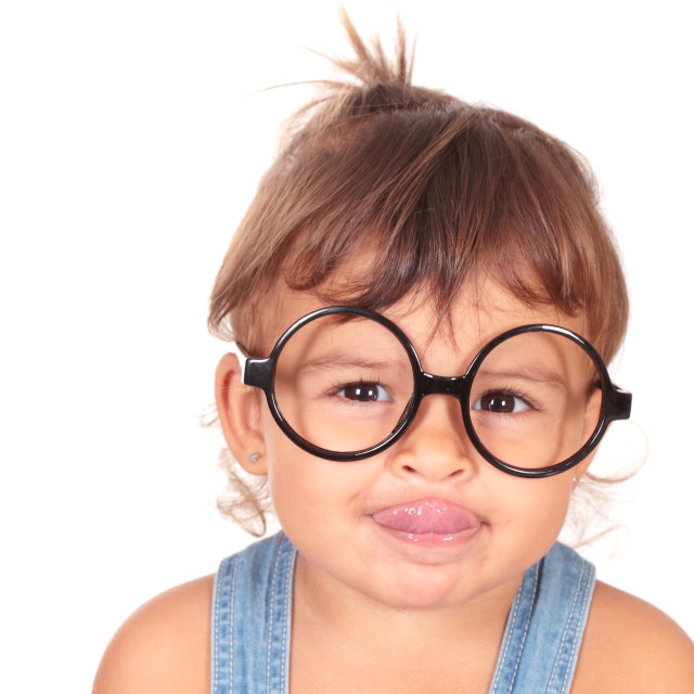 """""""little girl and glasses"""" stock image"""