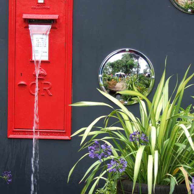 """""""Post box water feature"""" stock image"""