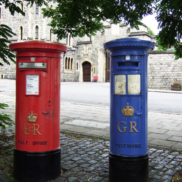 """Elizabeth and George post boxes"" stock image"