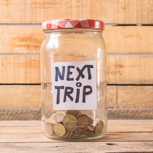 """jar with coins to travel"" stock image"