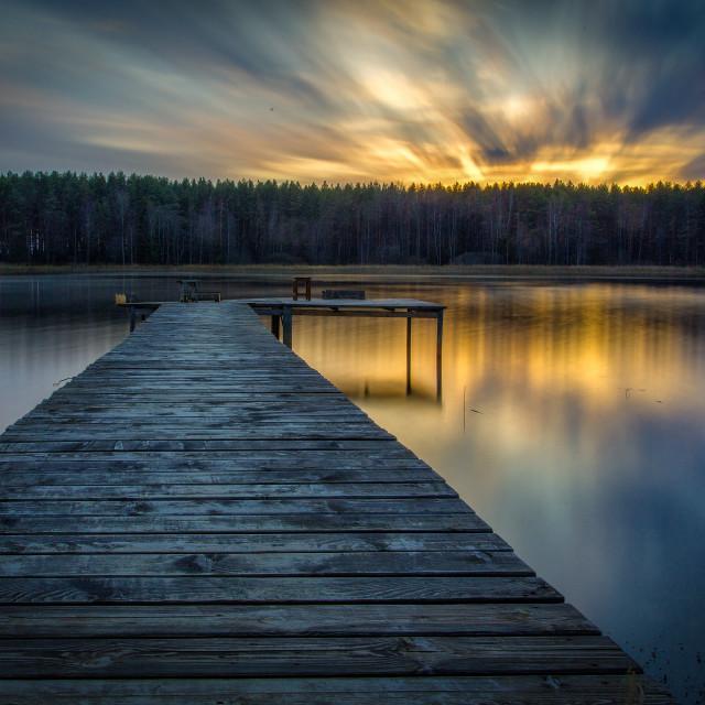 """""""Sunrise on the lake"""" stock image"""