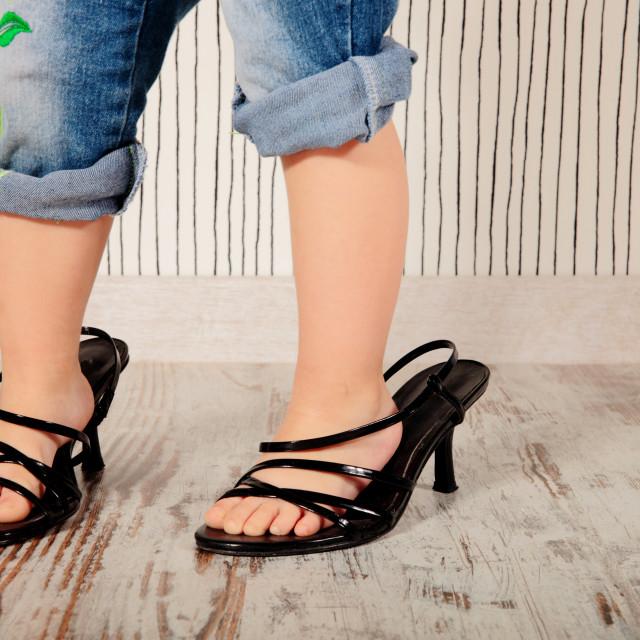 """child in heels"" stock image"