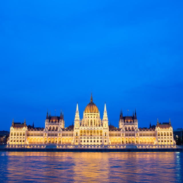 """Budapest Parliament at Dusk"" stock image"