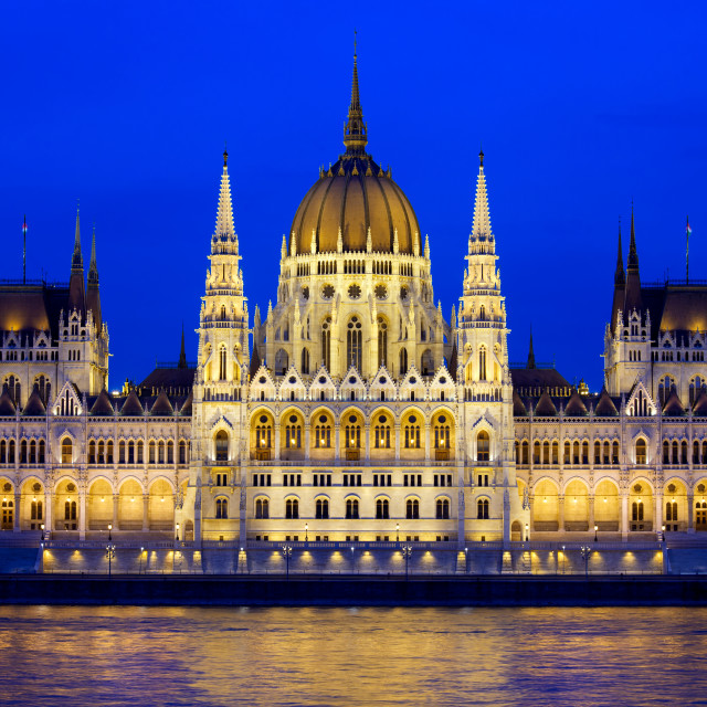 """Budapest Parliament at Evening"" stock image"