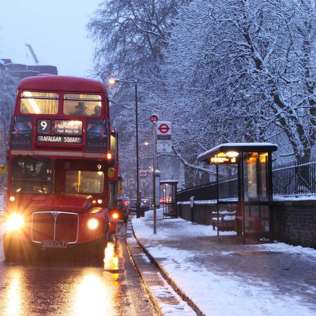 """'Routemaster' bus in the snow"" stock image"