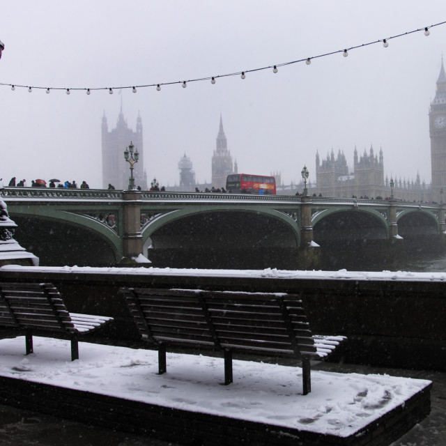 """Westminster in the snow"" stock image"