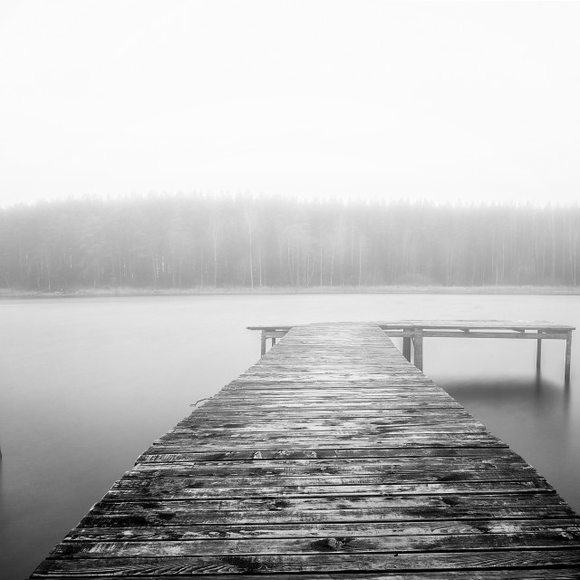 """Fog on the lake"" stock image"