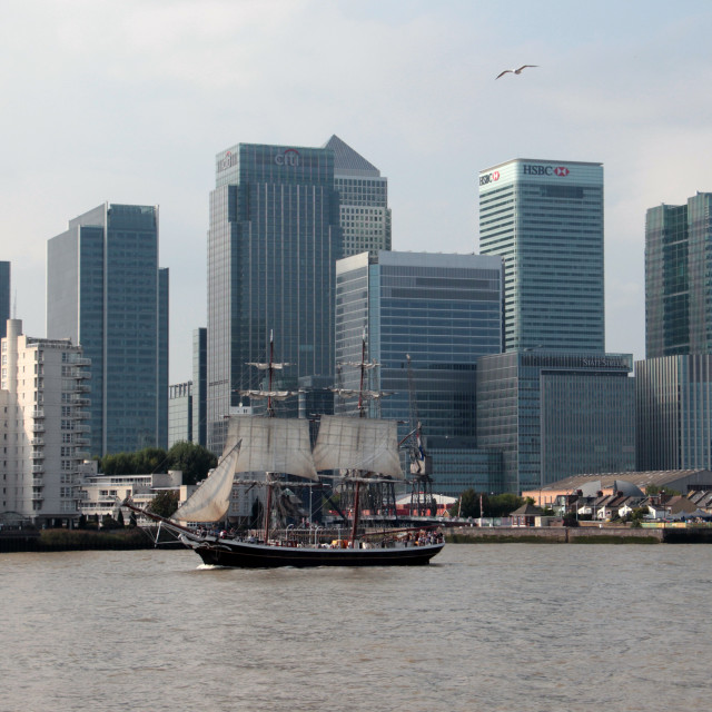 """Tall Ship and the Towers"" stock image"