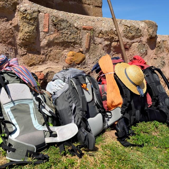 """backpacking of pilgrims"" stock image"