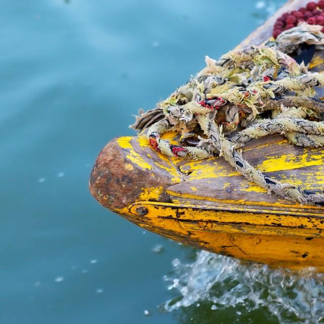 """""""boat on Ganges river"""" stock image"""