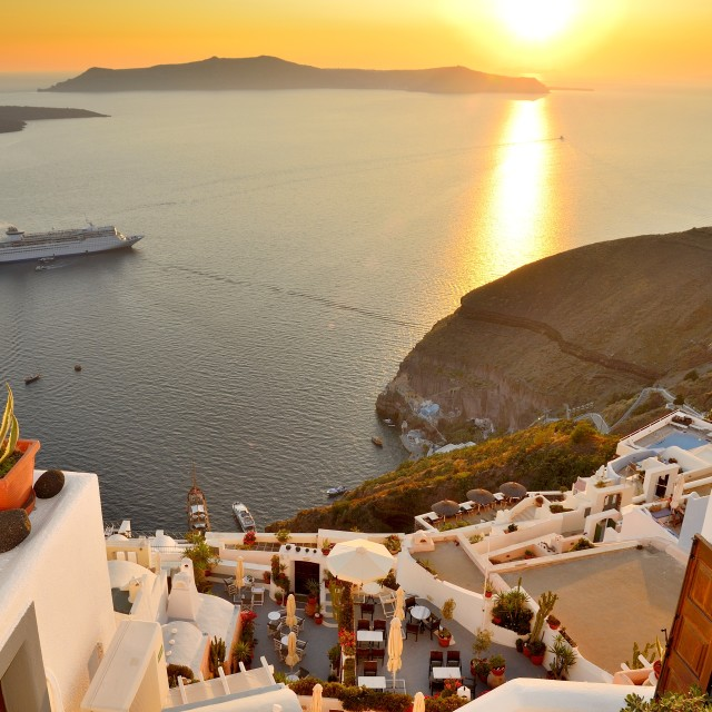 """fira sunset"" stock image"