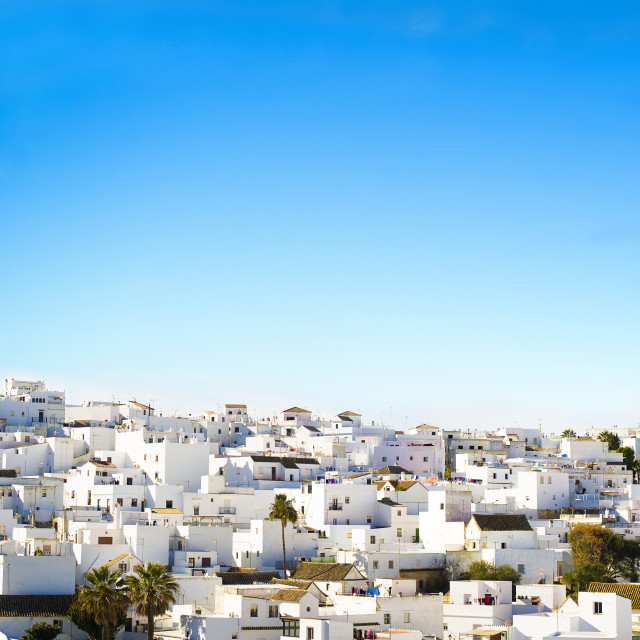 """Landscape of a white town, Vejer de la Frontera in Andalusia, Sp"" stock image"