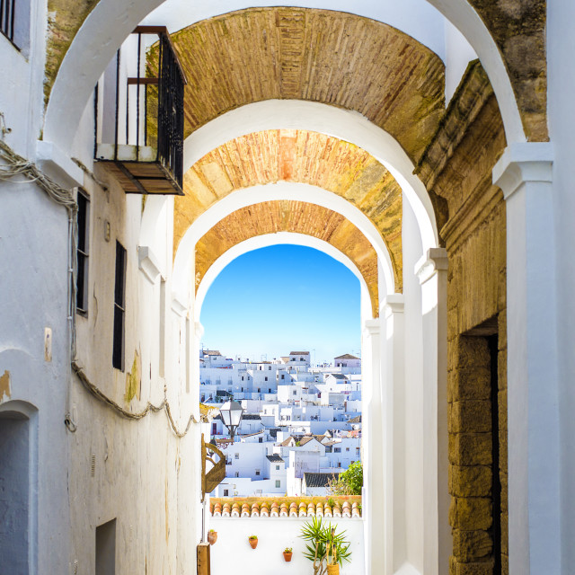 """Typical street in Vejer de la Frontera, Andalusia, Spain."" stock image"
