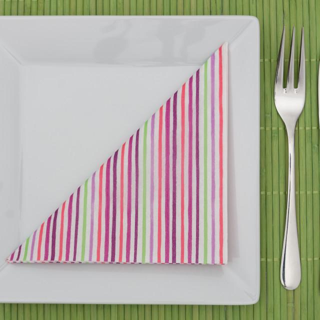 """Green table setting"" stock image"