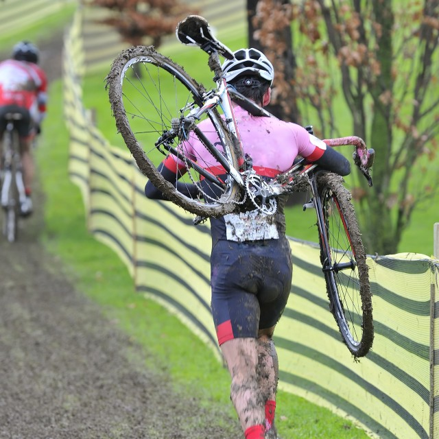 """""""Cyclist compete in cycle race of cyclocross"""" stock image"""