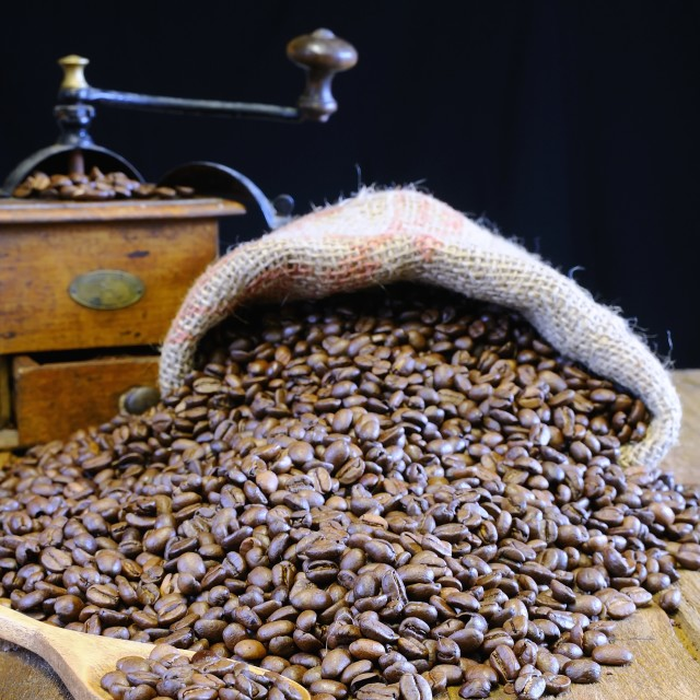 """""""Bag of coffee beans."""" stock image"""