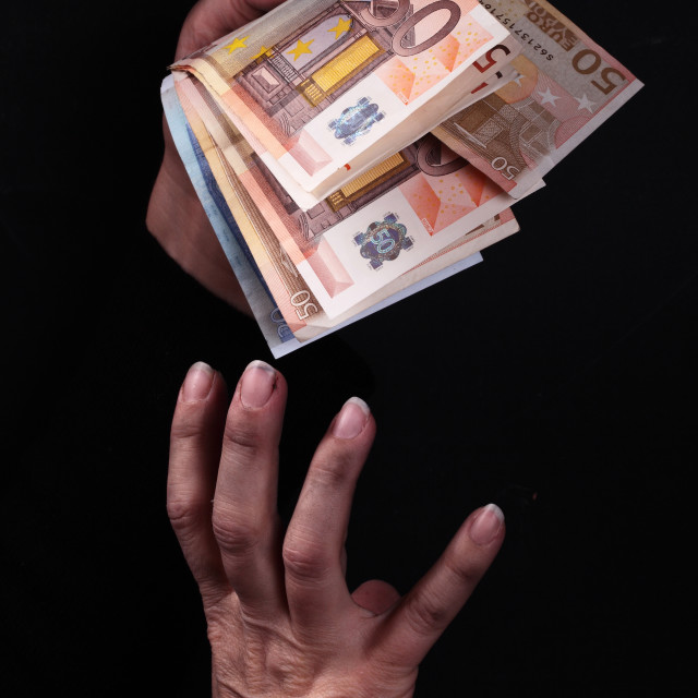 """""""dirty hands and money"""" stock image"""