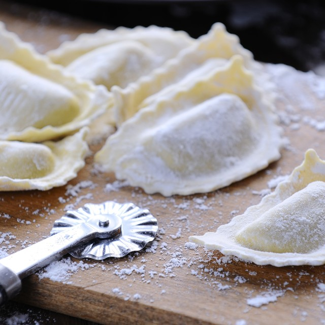 """Preparing fresh ravioli."" stock image"