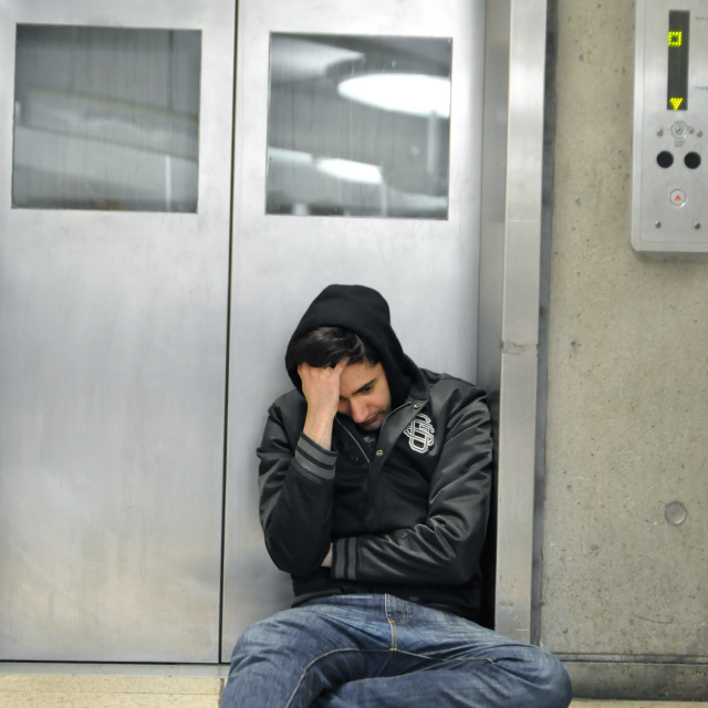 """DESPAIR. (Westminster Station, London)"" stock image"