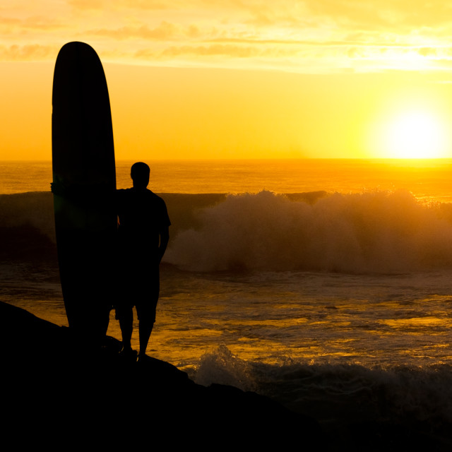 """""""Long boarder watching the waves"""" stock image"""