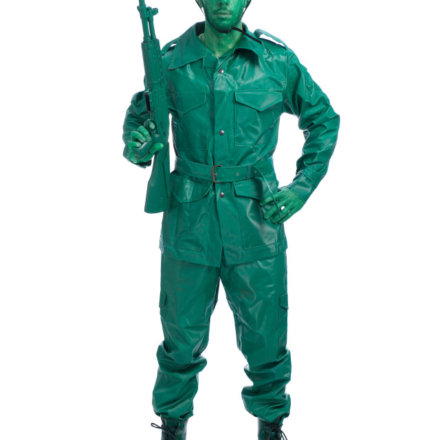 """Man on a green toy soldier costume"" stock image"