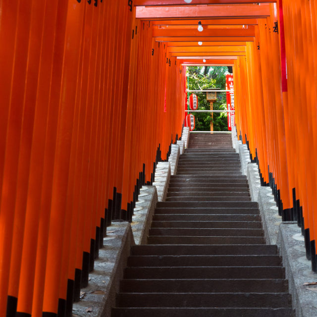 """""""TOKYO - CIRCA APRIL, 2014: In Shinto torii gates signify entrance to pure land of shrines on CIRCA April, 2014"""" stock image"""
