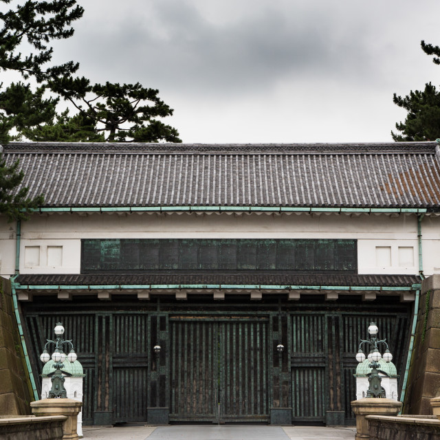 """Imperial palace gate, guarded by imperial guards."" stock image"