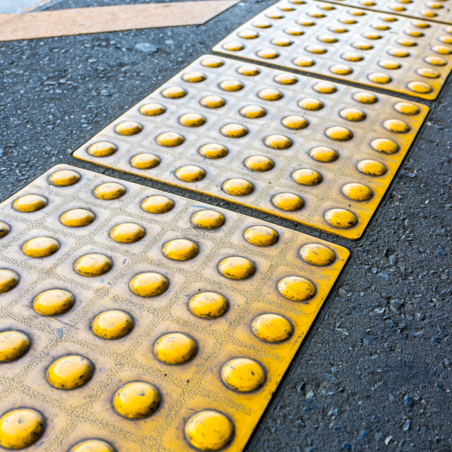 """""""sidewalk guides for the blind"""" stock image"""