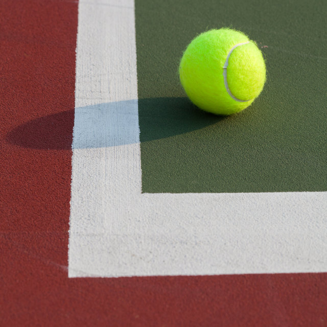 """""""Tennis ball on the court"""" stock image"""