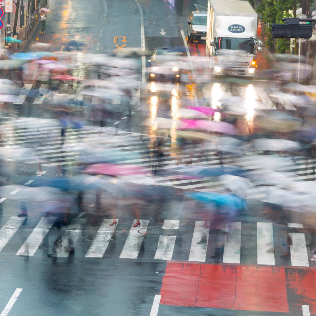 """SHIBUYA, TOKYO-CIRCA JUNE 2014: Shibuya scrambled crossing is one of the busiest of the world on circa June 2014"" stock image"