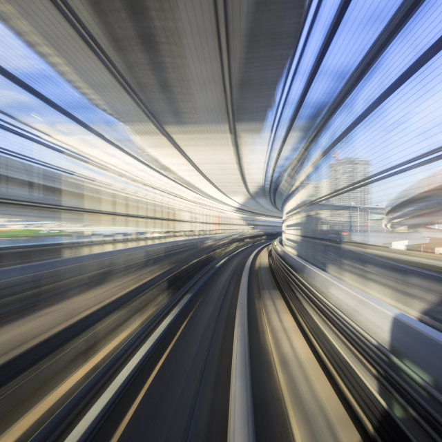 """Motion blur of Japanese mono rail"" stock image"