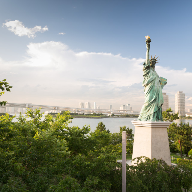 """ODAIBA,TOKYO-CIRCA JUNE 2014: There exists a replica of statue of liberty in odaiba, japan on CIRCA June 2014"" stock image"